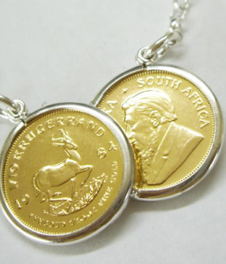 Hallmarked full half sovereign double coin mount necklace with hallmarked silver 110th krugerrand double coin mount necklace with belcher chain aloadofball Images