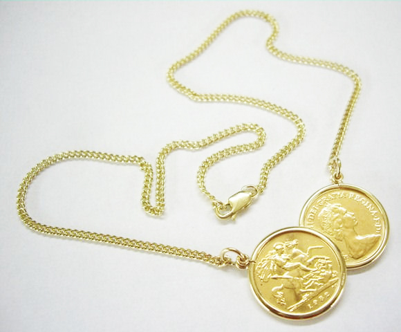 48248c7b3b99d Hallmarked Full / Half Sovereign Double Coin Mount Necklace with Belcher  Chain